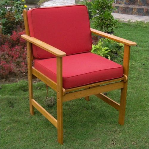 International Caravan Set of 2 Patio Chair in Natural and Red