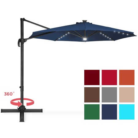 Best Choice Products 10ft Solar LED 360 Degree Cantilever Offset Market Patio Umbrella Shade for Deck, Garden, Poolside w/ Easy Tilt, Smooth Gliding Handle - Navy Blue ()