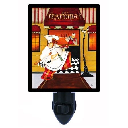 Night Light - Photo Light - Trattoria - Italian Chef with Wine - - Italian Theme Night