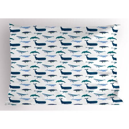 Whale Pillow Sham Different Types of Swimming Marine Characters in Hand Drawn Style Nautical, Decorative Standard Size Printed Pillowcase, 26 X 20 Inches, Teal Dark Blue White, by Ambesonne