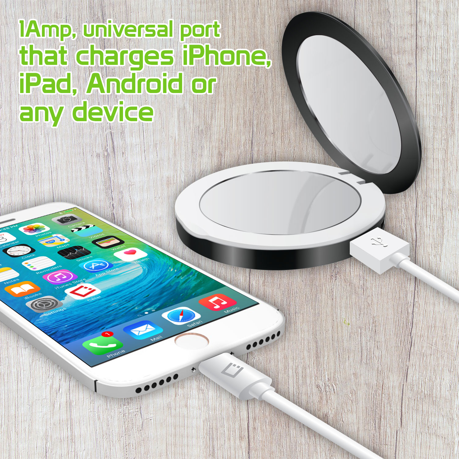 Cellet Compact Light Up Mirror powerbank, 3000mAh Battery for Apple,  Samsung, Google, & other Devices