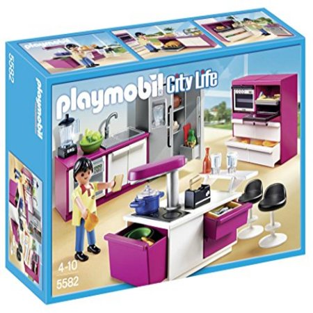 Playmobil modern designer kitchen set best building sets for Cuisine 5582 playmobil