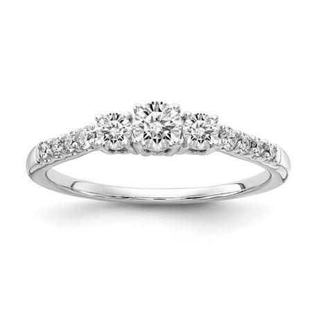 Lab Grown Diamond Ring 14k White Gold Round Cut Lab Created Diamond Diamond 3-Stone Engagement Ring Size