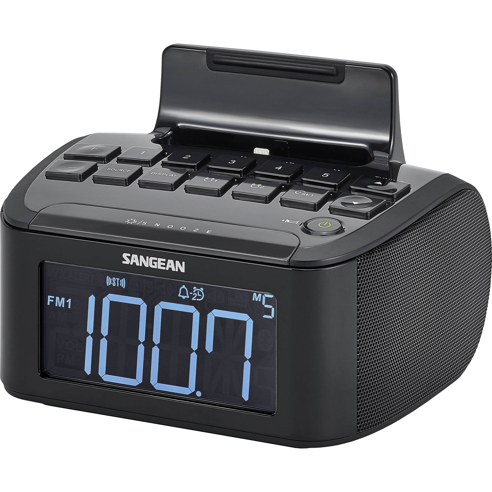 Sangean RCR-28 AM/FM Stereo/AUX-In Digital Tuning Clock Radio with Lighting Connector Dock for Apple iPhone 5/5S and 6/6 Plus, Black