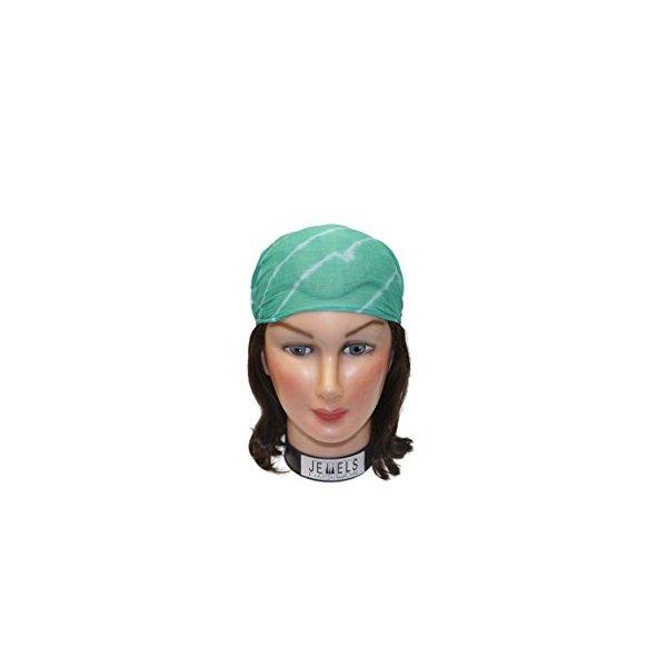 Tye Dye Solid Embroidery Headbands / Head wrap / Yoga Headband / Head Sarf / Best Looking Head Band for Sports or Fashion, or Exercise (Green)
