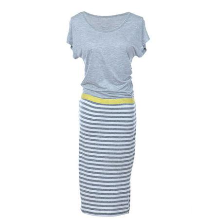 S/M Fit Grey Casual Basic Chill Mini Striped Skirt Detail Maxi - Detail Magic
