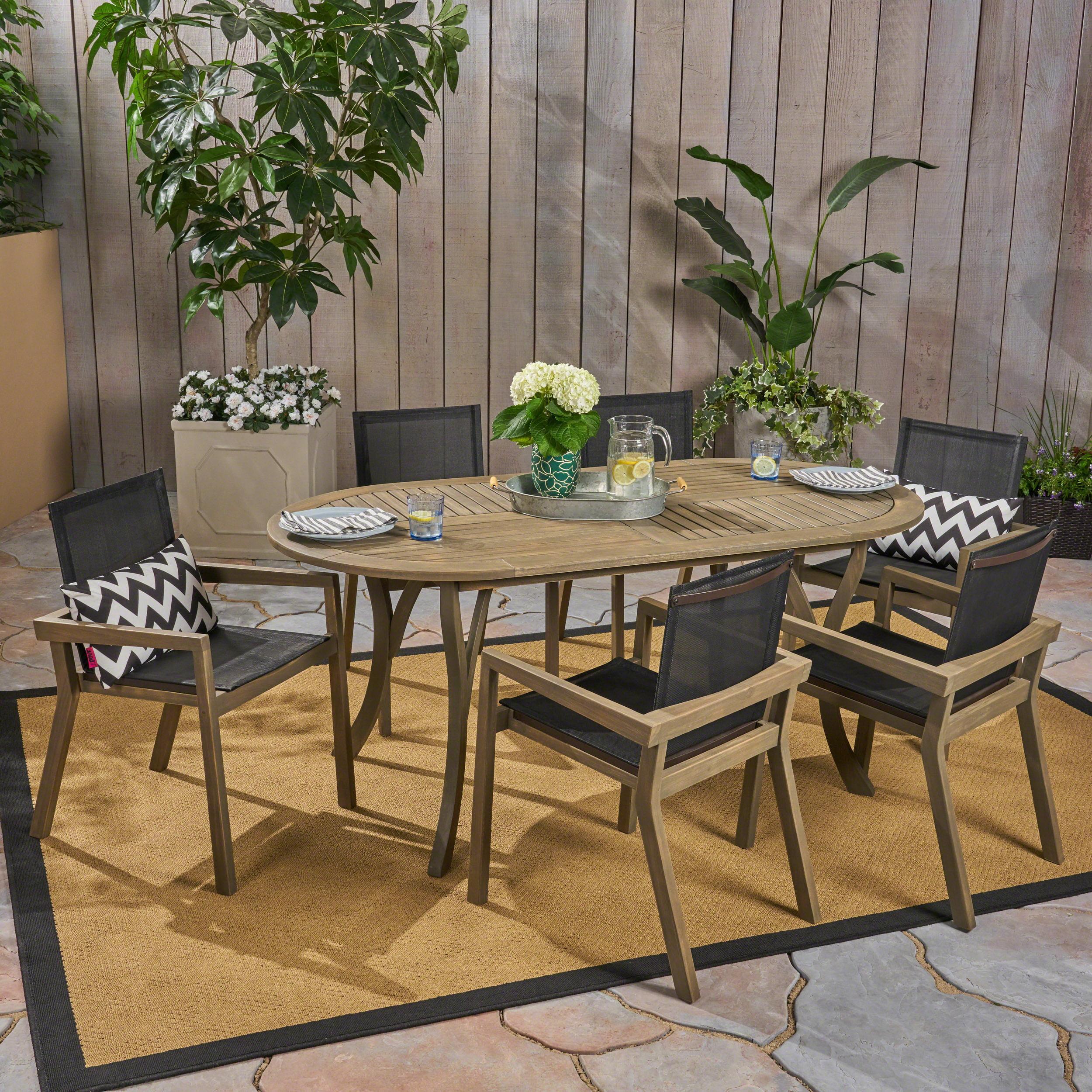 Kalani Outdoor 7 Piece Acacia Wood and Mesh Oval Dining Set, Gray, Black