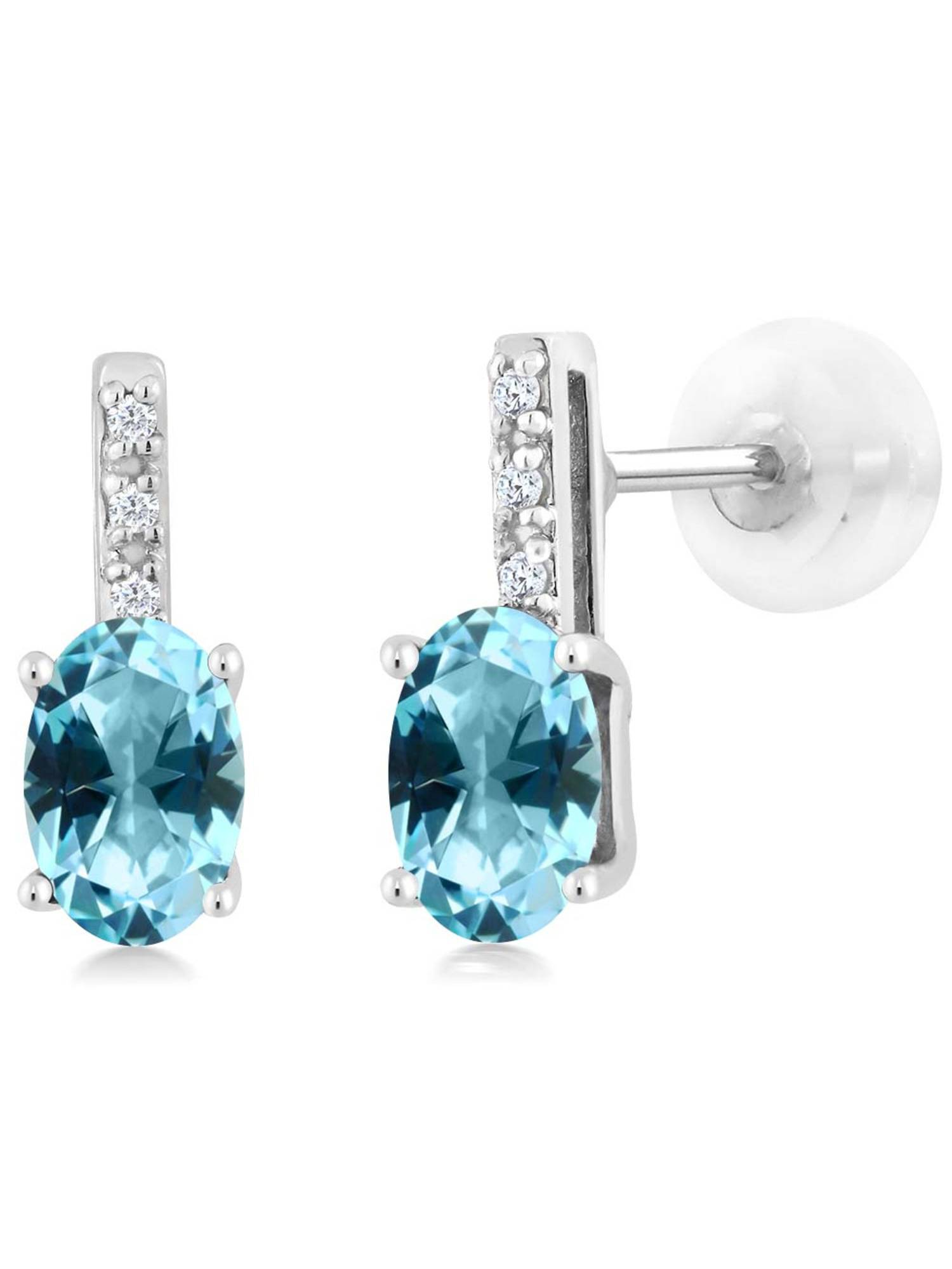 14K White Gold Diamond Earrings Set with Oval Ice Blue Topaz from Swarovski by
