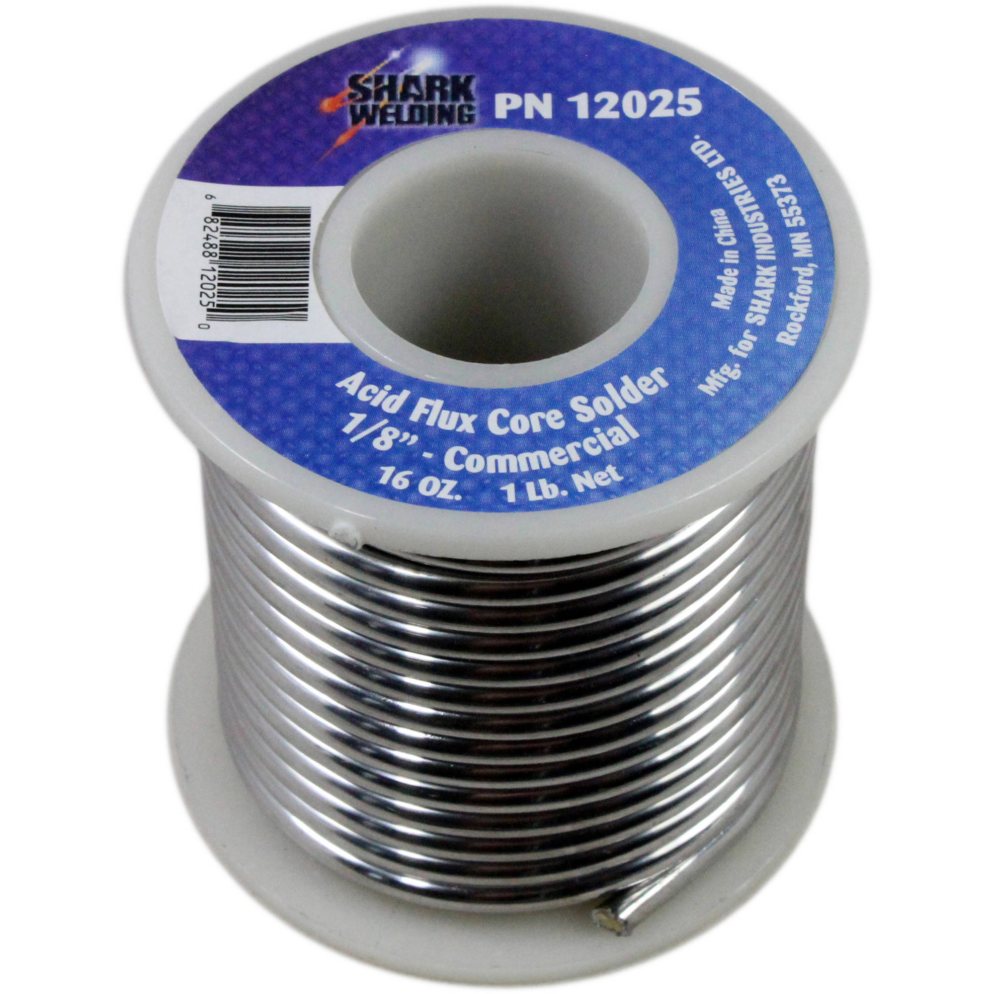 "Shark 0.125"" Acid Flux Core Solder, 1 lb"