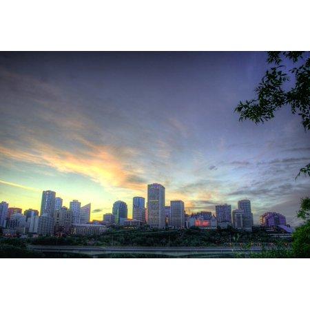 Edmonton 16 Light (canvas print sunset dusk canada lights edmonton sky evening stretched canvas 10 x 14 )