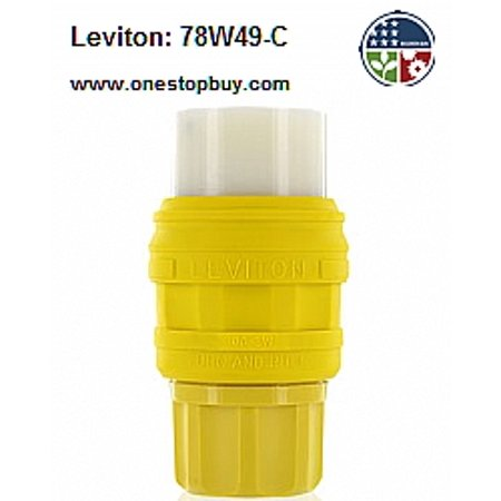 - Leviton 78W49-C Inlet Connector Locking Blade Wetguard 30A 277V 2P3W Grounding - Yellow