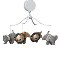 Bedtime Originals Jungle Fun Musical Baby Crib Mobile - Gray, Animals, Jungle
