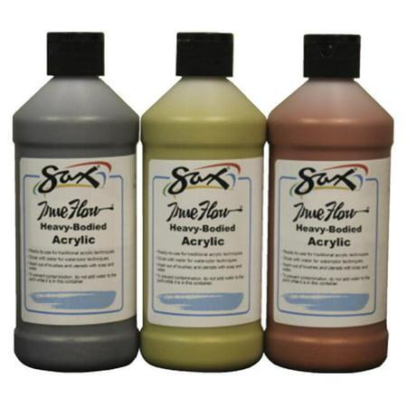 Sax True Flow Heavy Body Acrylic Paints, Assorted Metallic Colors, Pint, Set of