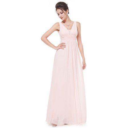 Pink Tea Party Dress (Ever-Pretty Women's Elegant Long Maxi V Neck Chiffon Evening Cocktail Prom Party Bridesmaid Wedding Guest Formal Dresses for Women 08110 (Pink 4)