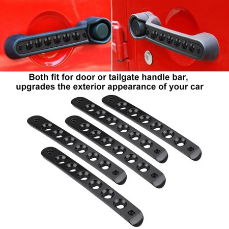 Ymiko 5pcs Door Handle Insert Cover, Aluminum Door Grab Handle Tailgate Bar Trim Insert Cover for Jeep Wrangler JK Unlimited ()