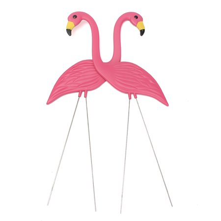 Set of 2 Plastic Pink Flamingo Yard Decorations Lawn Stakes (35 INCH)](Plastic Flamingos Wholesale)