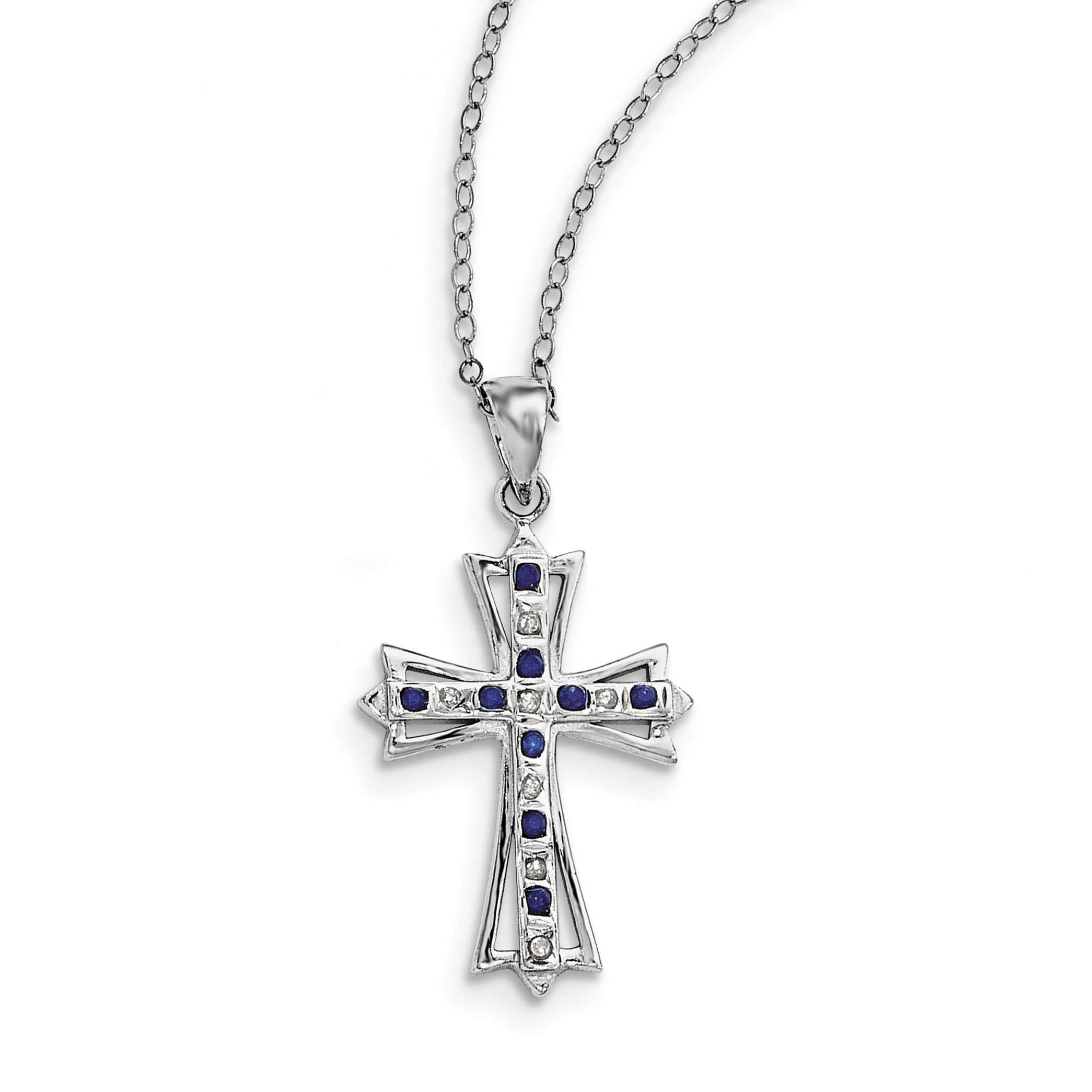 Sterling Silver & Platinum-plated Dia. & Sapphire 18in Cross Necklace by