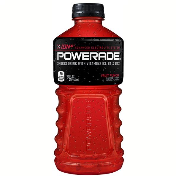 Powerade Fruit Punch Sports Drink 32 oz Plastic Bottles -...