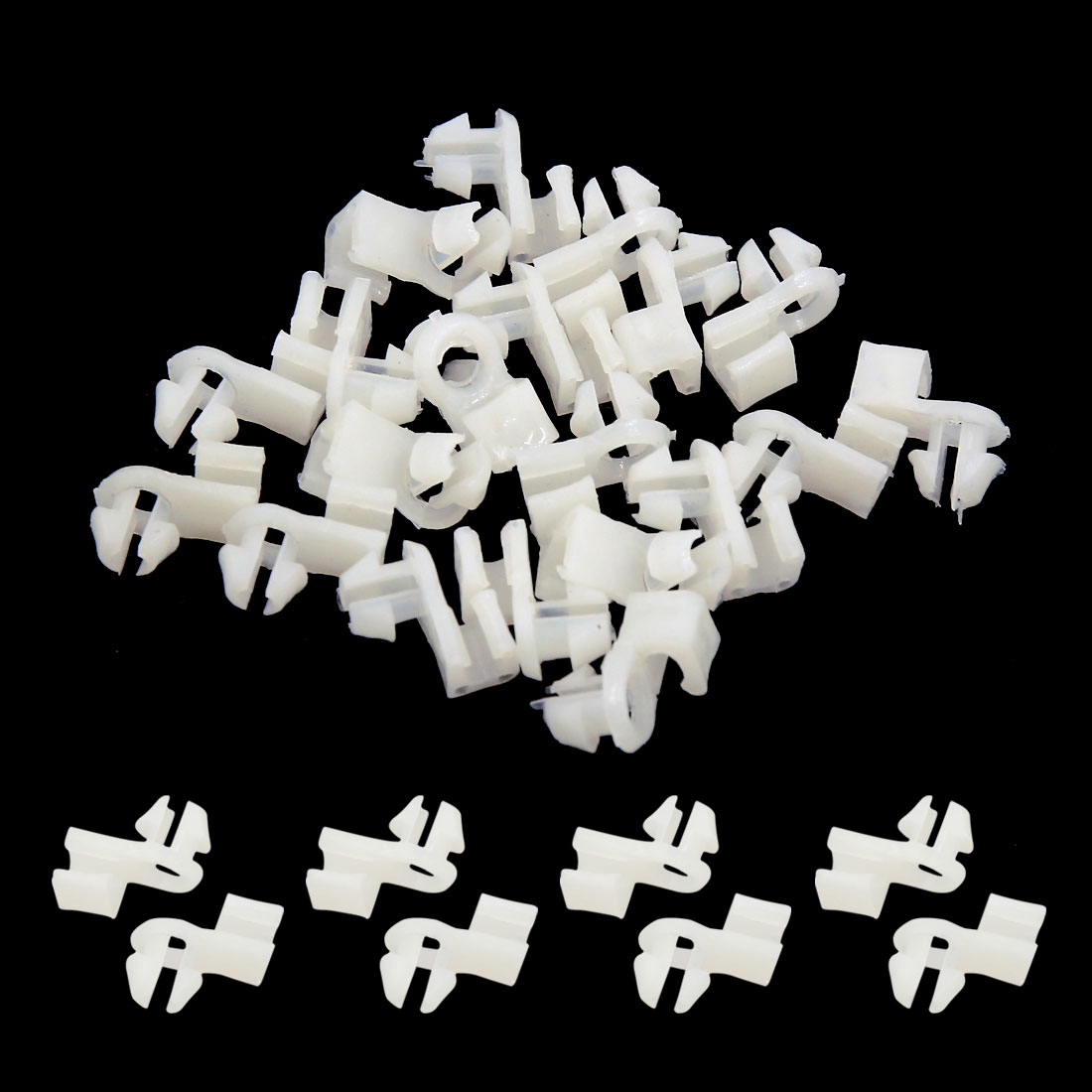 8mm Dia Hole Car Interior Door Trim Panel Moulding Fixing Clip Rivet White 20pcs - image 1 of 2