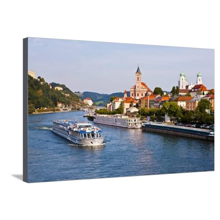 Cruise Ship Passing on the River Danube, Passau, Bavaria, Germany, Europe Stretched Canvas Print Wall Art By Michael