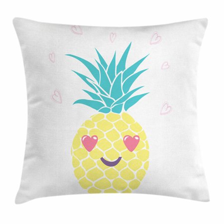 Tropical Throw Pillow Cushion Cover, Pineapple Design with a Smile and Heart Eyes Tropical Love Themed Fruit Portrait, Decorative Square Accent Pillow Case, 16 X 16 Inches, Multicolor, by Ambesonne