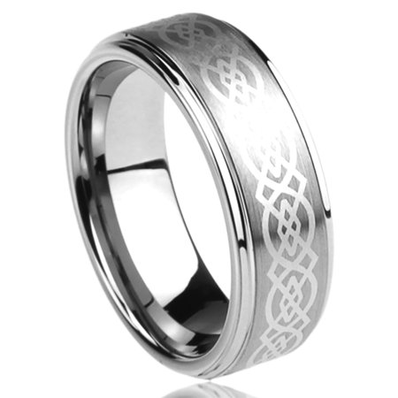 Men's Women's Stainless Steel 6mm Wedding Band Ring Celtic Knot Engraved Ring (5 to 13)