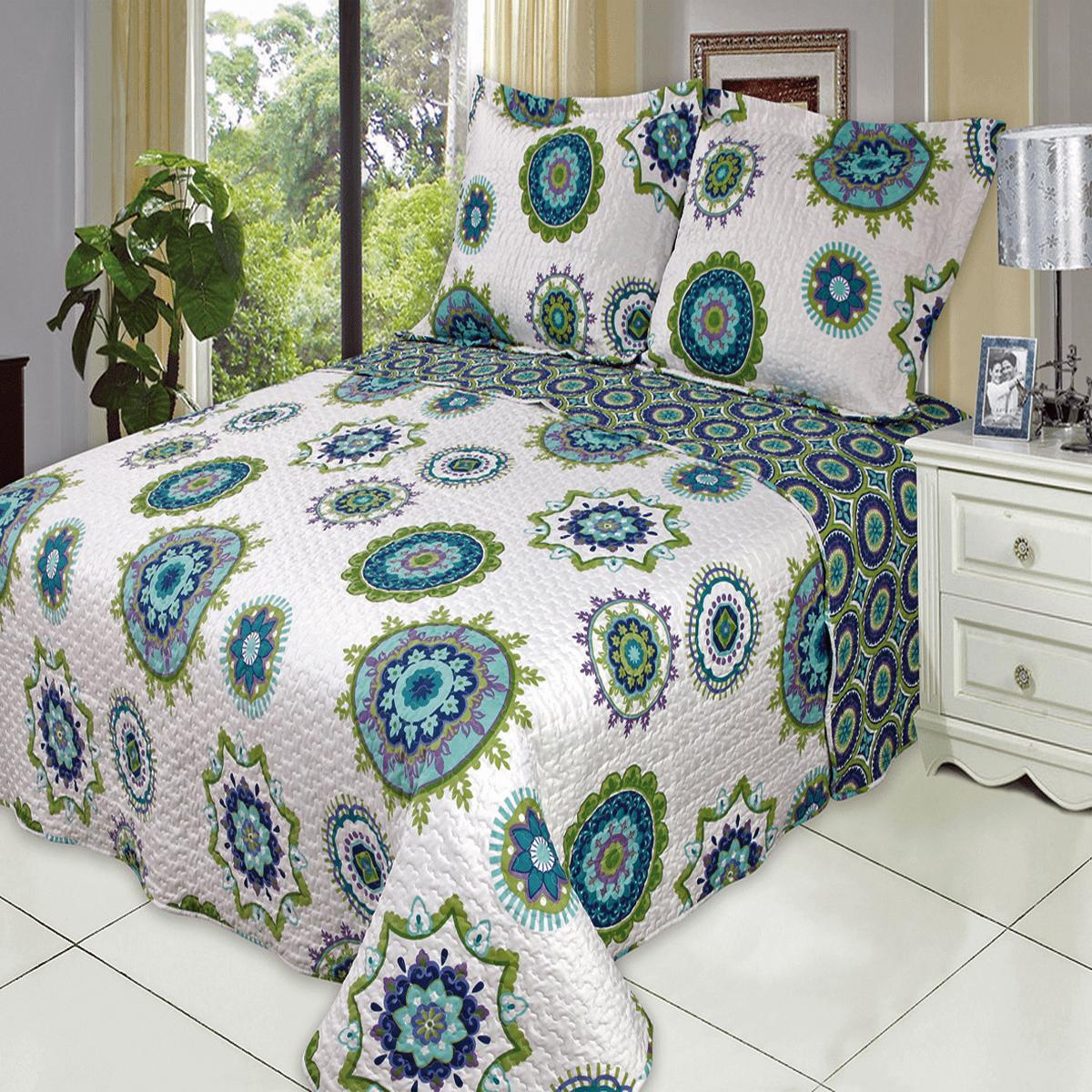 Julia Fashion Floral Design Coverlet Set Oversized Lightweight Reversible Quilt Bedding Set : Full/Queen - Cool