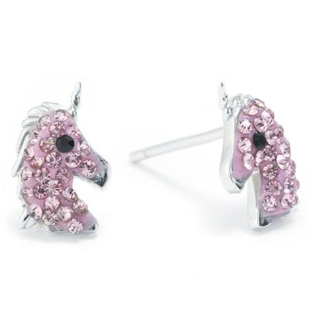Sterling Silver Pave Crystal Unicorn Stud Earrings