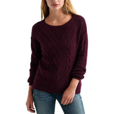 Lucky Brand Womens Cable Knit Boatneck Pullover Sweater Purple L Rib Knit Boatneck Sweater