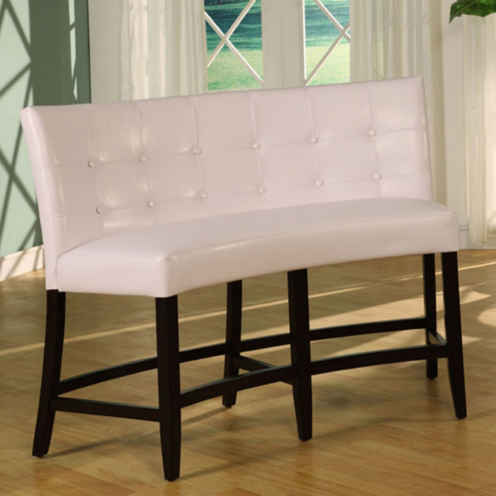 Bossa Counter Height Banquette - White Leatherette