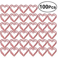 OUNONA 100pcs Paperclip Love Heart Paper Clips Marking Bookmark Pin Stationery Office Accessories(Red)