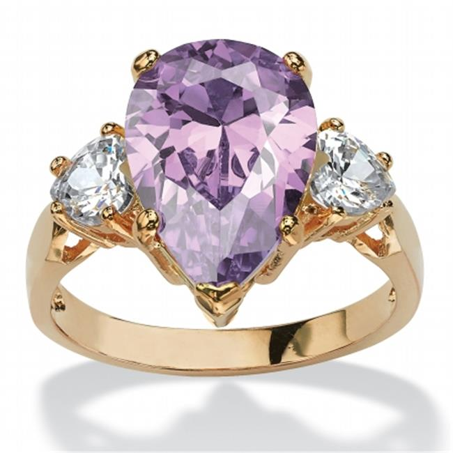 Palm Beach Jewelry 556478 6. 75 TCW Lavender Pear-Shaped Cubic Zirconia Ring, 14k Yellow Gold-Plated, Size 8