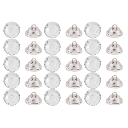 Plastic Round Furniture Sofa Chair Bed Headboard Buttons Clear 18mm Dia 30 Pcs - image 3 of 3