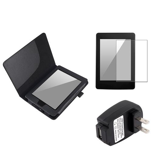 Insten Black Folio Leather Case+Anti-Glare Film+AC Wall Charger For Kindle Paperwhite