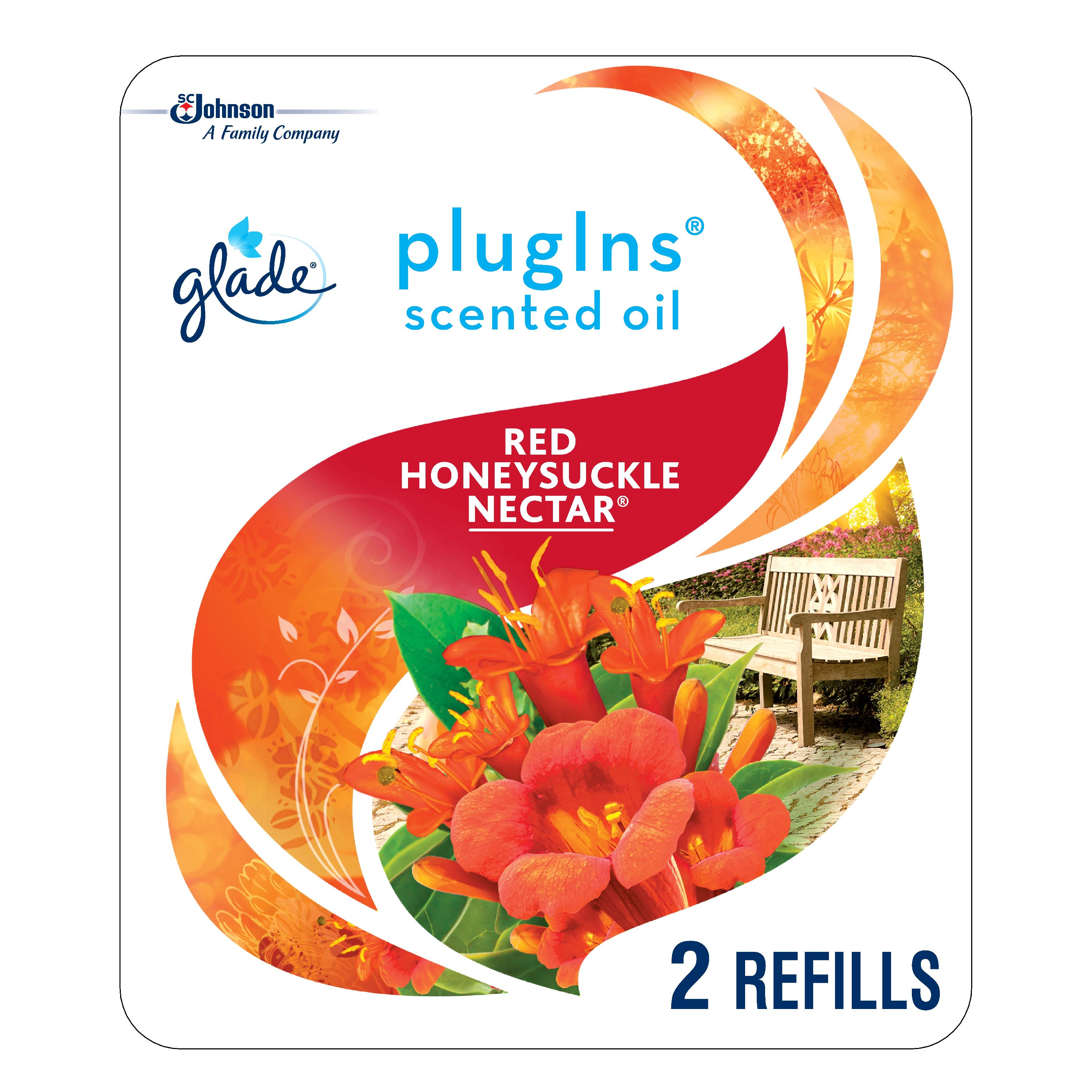 Glade PlugIns Scented Oil Refill Red Honeysuckle Nectar, Essential Oil Infused Wall Plug In, Up to 50 Days of Continuous Fragrance, 1.34 oz, Pack of 2