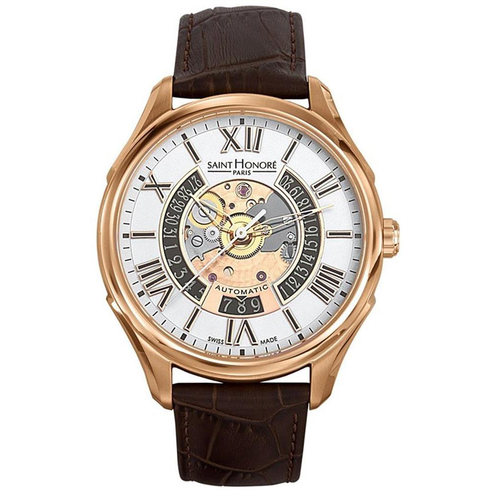 Saint Honore Men's Carrousel 42mm Brown Leather Band Stee...