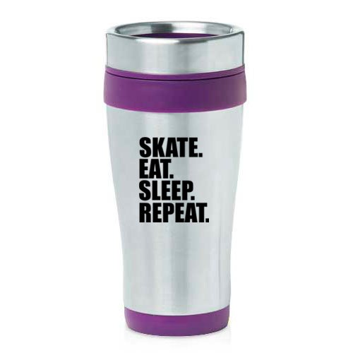 16 oz Insulated Stainless Steel Travel Mug Skate Eat Sleep Repeat Ice Roller Skateboard (Purple) by