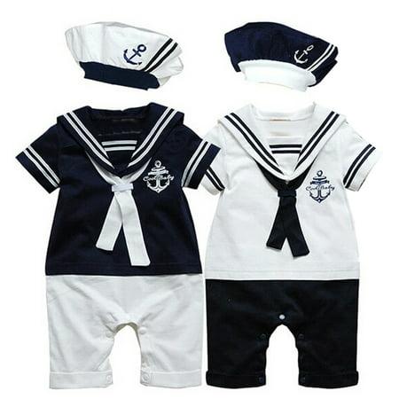 Kid Sailor Costume (2Pcs Baby Boy Kids Costume Clothing Navy Sailor Captain Romper Jumpsuits+Hat Cotton Newborn Short Sleeve White Navy Sailor White 0-12)