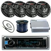 "Kenwood KMRD372BT Marine Boat Radio Stereo CD Player Receiver Bundle Combo With 4x JVC CS-DR6200M 6.5"" 2-Way Coaxial Speakers + 360-Watt Amplifier + Enrock Radio Antenna + 50 Foot 16g Speaker Wire"