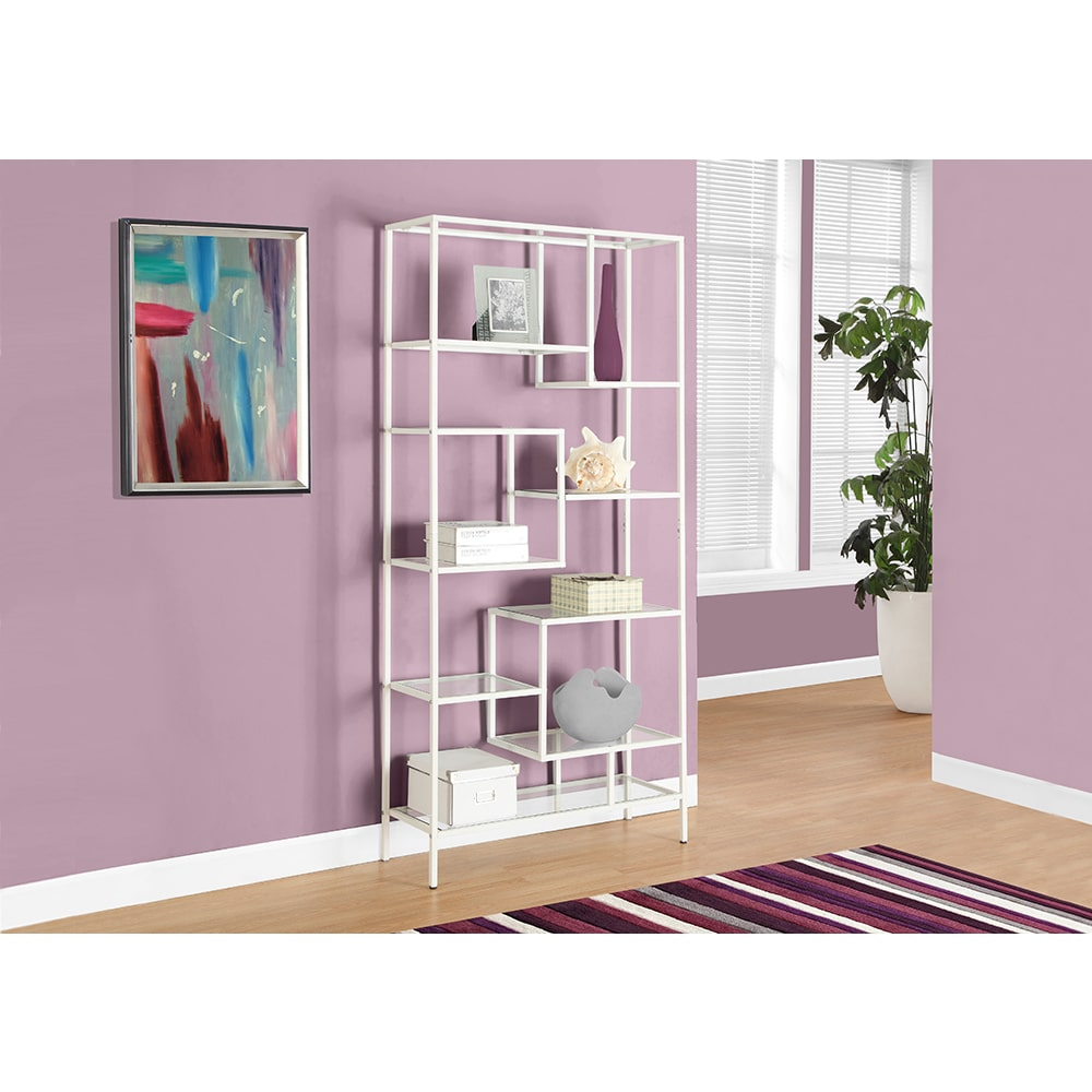 Monarch Clay Alder Home Pacific 72-inch White Metal Bookcase With Tempered Glass