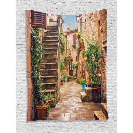 Tuscan Decor Wall Hanging Tapestry, View Of An Old Mediterranean Street With Stone Rock Houses In Italian City Rural Culture Print, Bedroom Living Room Dorm Accessories, By Ambesonne