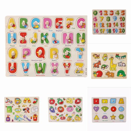 Akoyovwerve Children Kids Wooden Zoo Animal Letter Number Jigsaw Puzzle Toy Baby Toddlers Early Learning Educational Gift, Size A