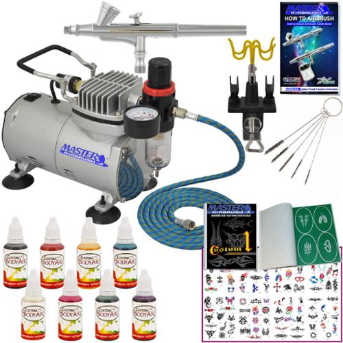 Master Pro Temporary Tattoo Airbrush Kit 8 Color Body Art Paint Set 100 Stencils