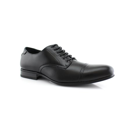Ferro Aldo Radley MFA19350 Black-85 Men's Cap Toe Oxfords With Lace-up Closure Leather Lining Dress Shoes For Everyday Wear (Ferro Aldo Mens Oxford)