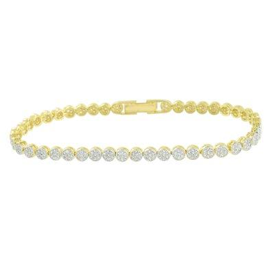 Round Link Tennis Bracelet Womens 14k Yellow Gold Finish Designer Lab Created Cubic Zirconias by