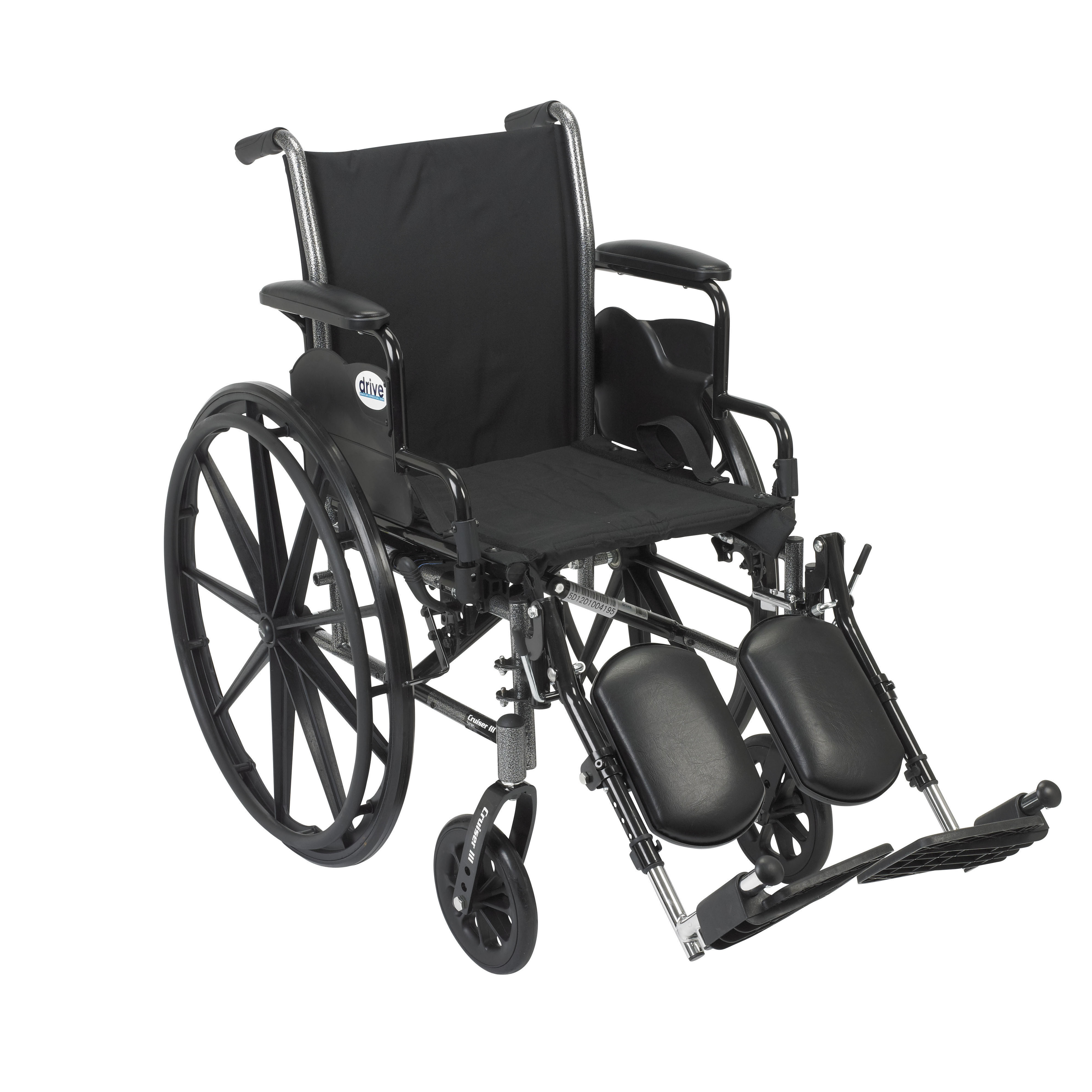 """Drive Medical Cruiser III Light Weight Wheelchair with Flip Back Removable Arms, Desk Arms, Elevating Leg Rests, 18"""" Seat"""