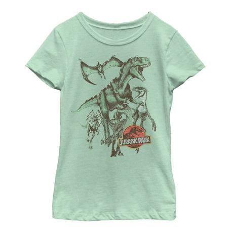 Jurassic Park Girls' Vintage Dinosaur Stampede T-Shirt