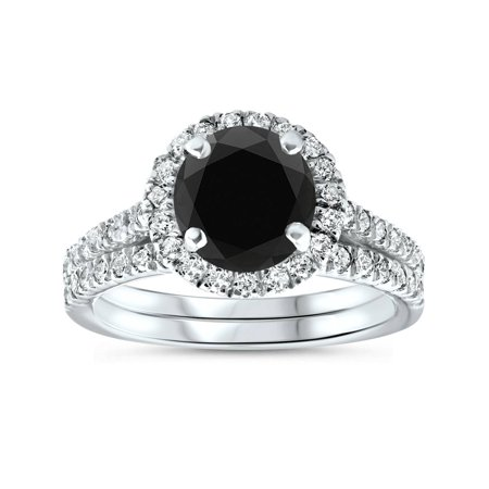 Black Diamond Gold Wedding Rings - 2 1/2 cttw Black Diamond Halo Engagement Wedding Ring Set White Gold Treated