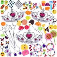 Girls Princess Party Favors Jewelries Assortment Children Toy Box for Birthday Party Supply, Goodie Bag, Pinata, Carnival Prizes 100 PCs F-146