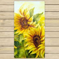 PHFZK Oil Painting Towel, Sunny Nature Art Sunflower Sunflowers Landscape Yellow Hand Towel Bath Bathroom Shower Towels Beach Towel 30x56 inches